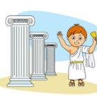ancient greek boy wearing a toga
