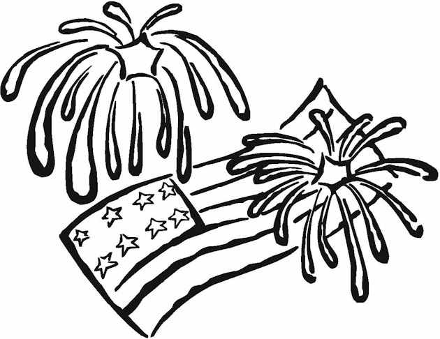 40760 4th of july fireworks flags coloring page Coloring Kids