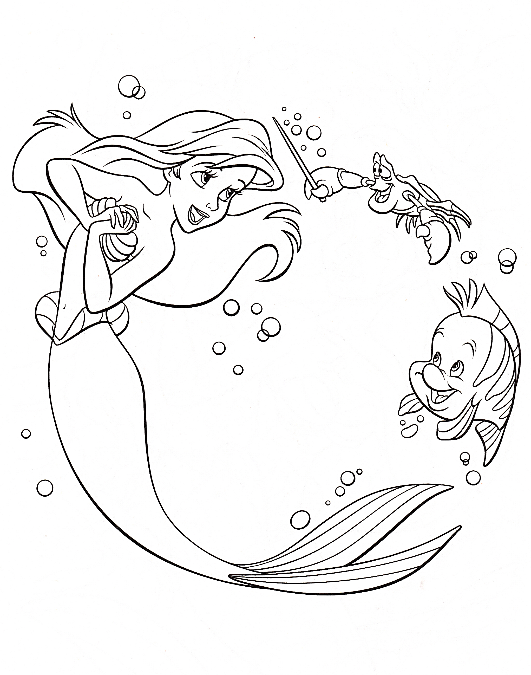 ariel coloring pages - Princess Ariel Coloring Pages