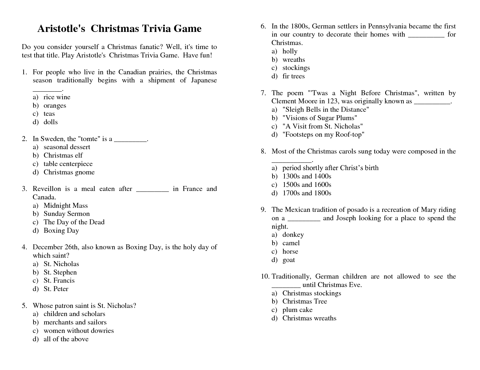 Christmas Printable Games  Free Printable Quiz