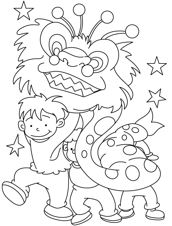 Young Children Celebrate Chinese New Year Coloring Pages