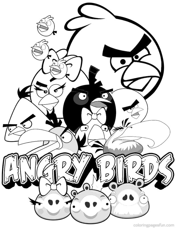 Angry Birds Angry Bird Space Captain Red Attack Colouring Page