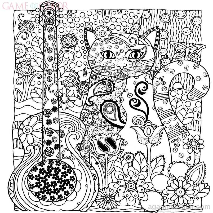 Intricate Cat Coloring Pages : Animal cats coloring kids