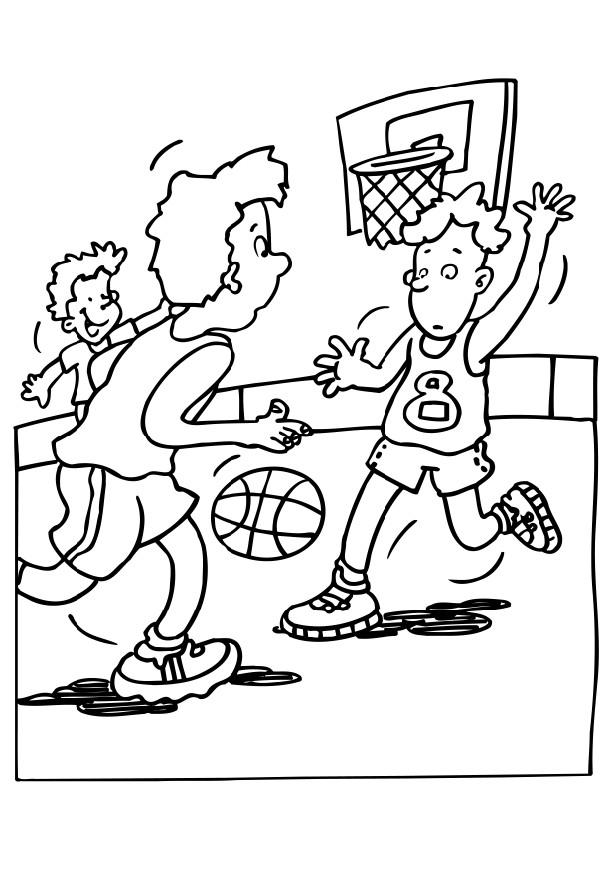 kid playing basketball coloring pages - photo#28
