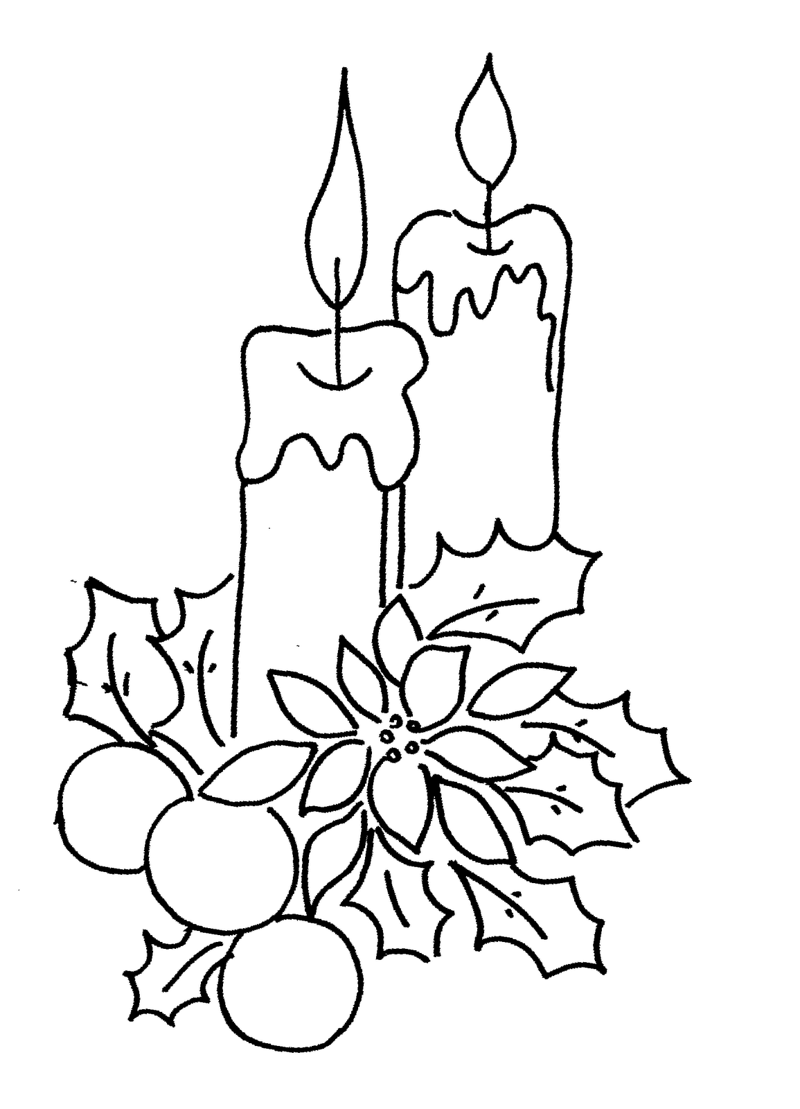 Christmas Coloring Pages Free Christmas Candles  Coloring Kids