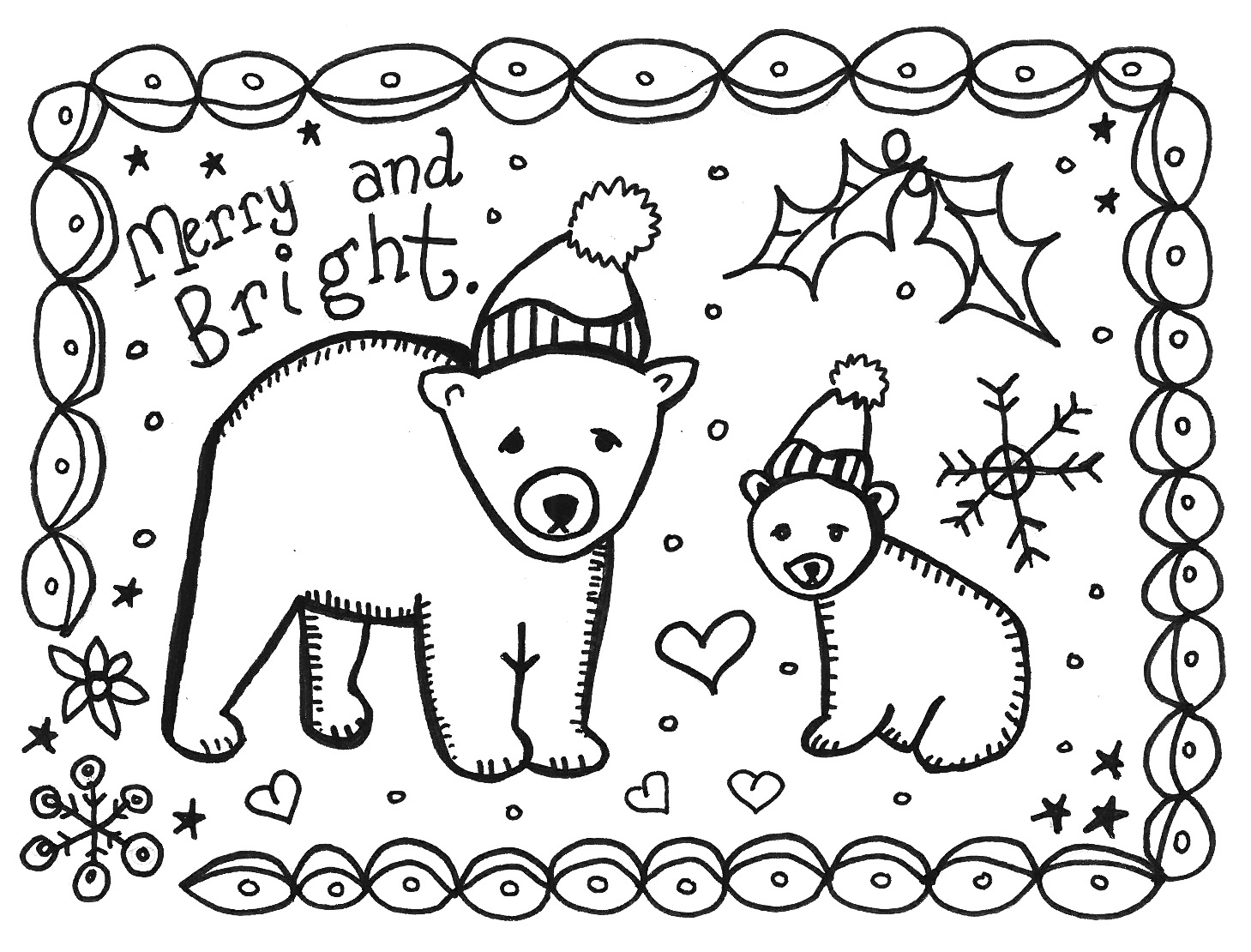 christmas coloring cards - Holiday Pictures To Colour