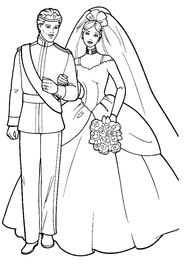 Wedding Coloring Pages  Barbie Kids