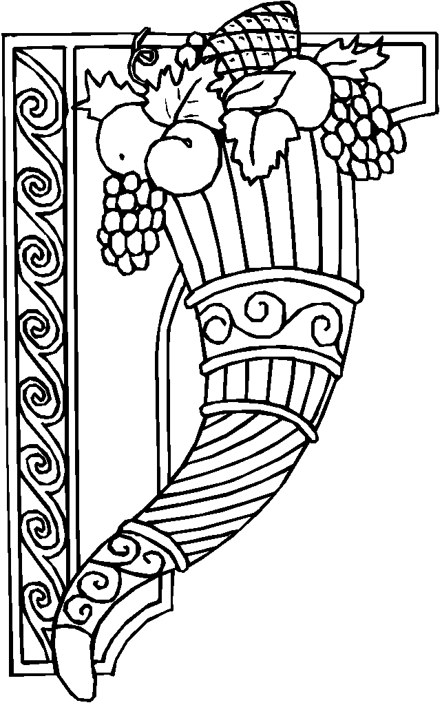 Coloring Pages Cornucopia With Apples Thanksgiving