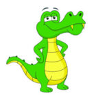 green alligator cartoon style clipart