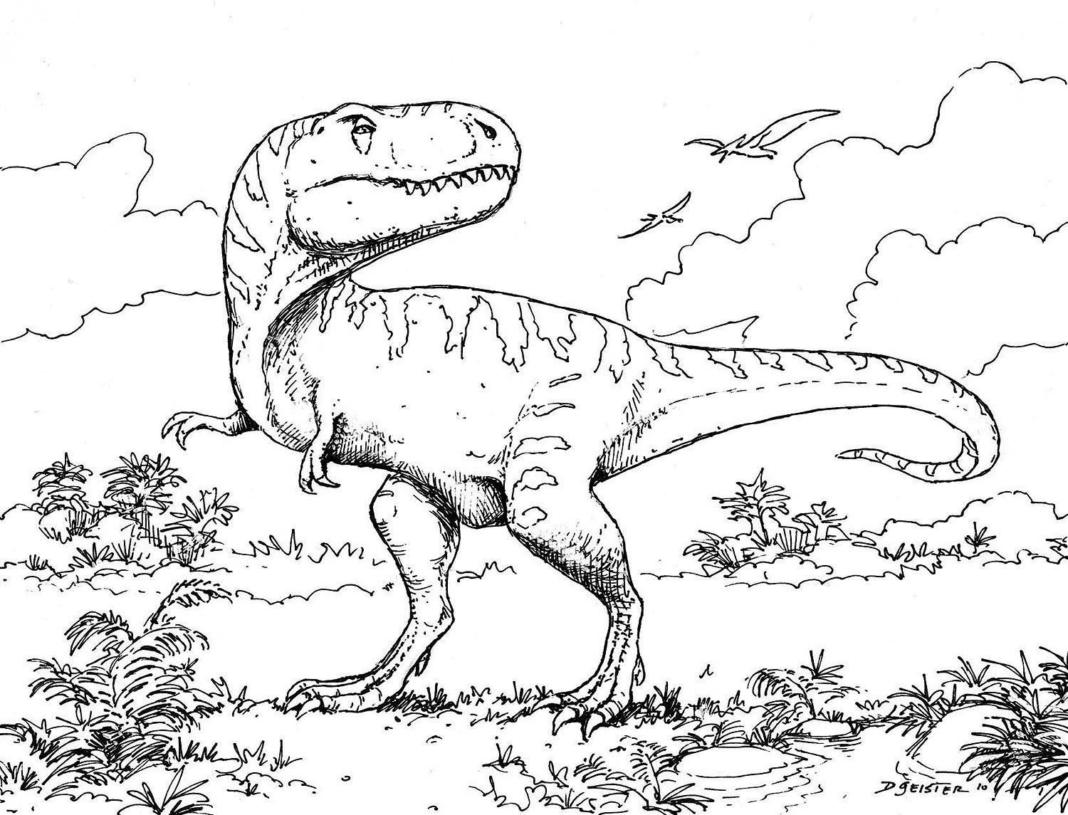 download dinosaur coloring pages 5 print - Dinosaurs Coloring Pages Print
