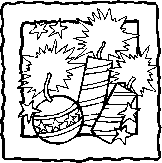firecrackers fourth of July Coloring Kids