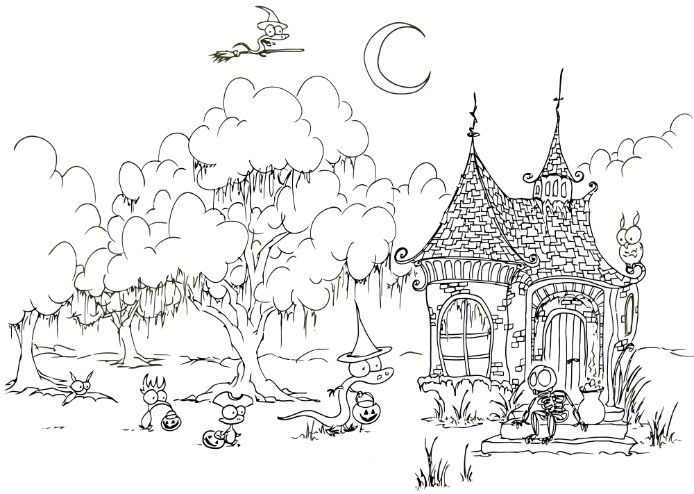 halloween scenery coloring pages - photo #18
