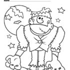 Halloween Monster Frankenstein and Bats Coloring Page -coloringkids.org