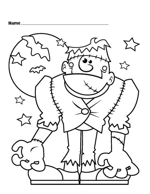 Frankenstein Coloring Pages Entrancing Halloween Monster Frankenstein And Bats Coloring Page Design Decoration