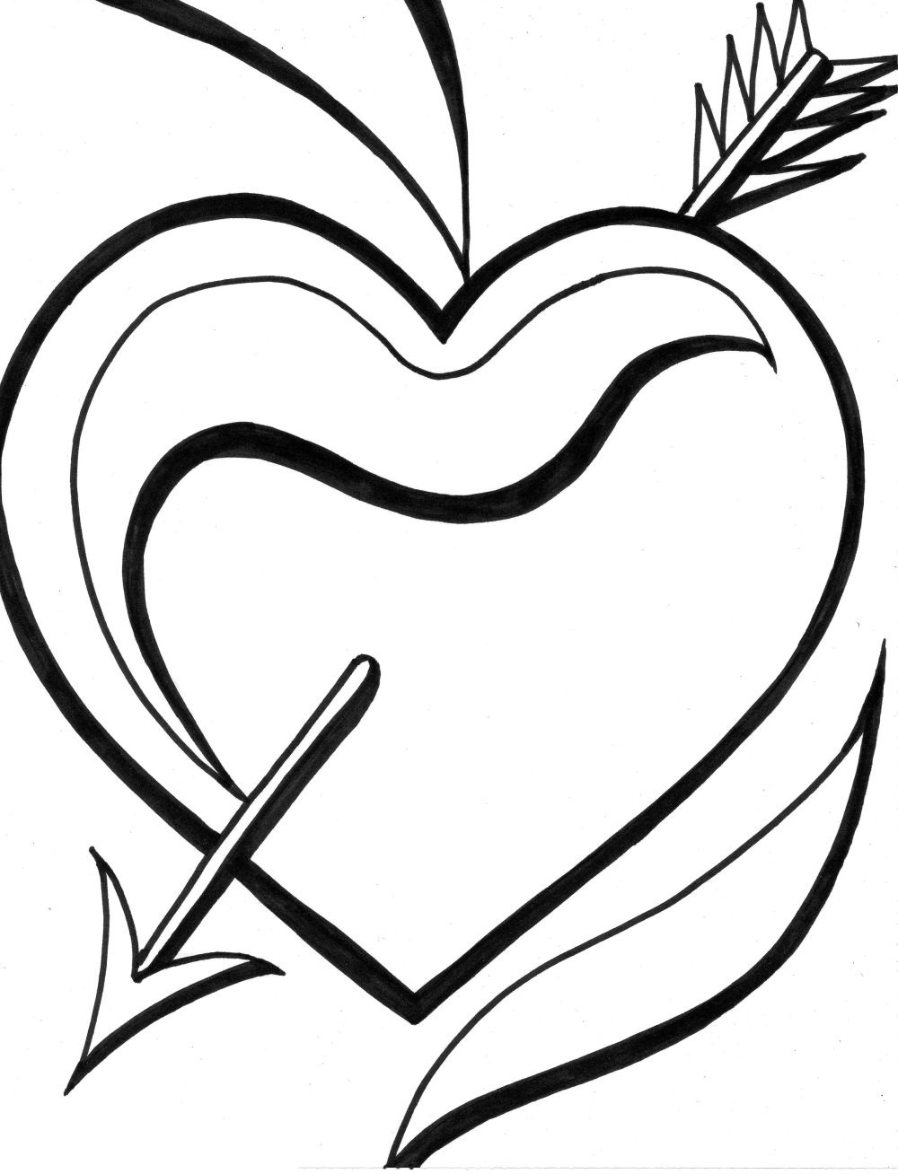 Clip Art Cute Heart Coloring Pages heart coloring pages 3 kids download 3