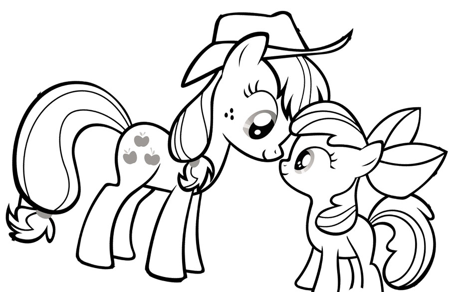 My Little Pony Looking At Each Other Coloring Page Coloring Kids