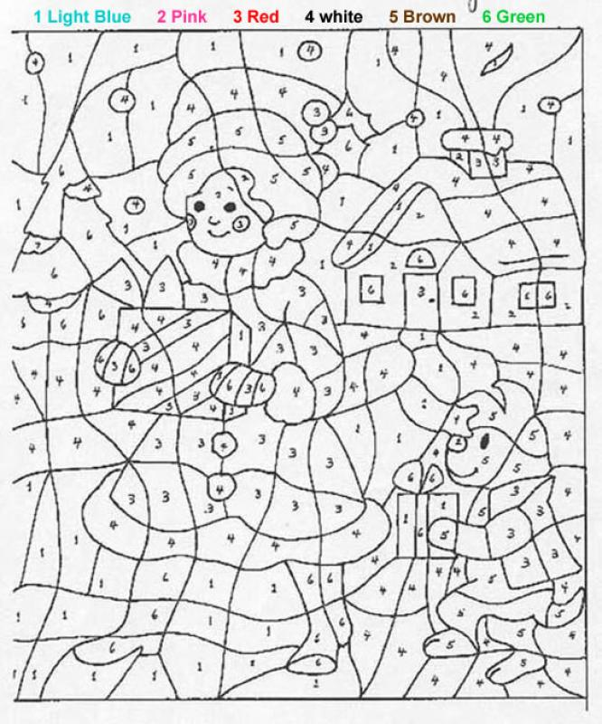 Colouring By Number Christmas : Number coloring pages kids
