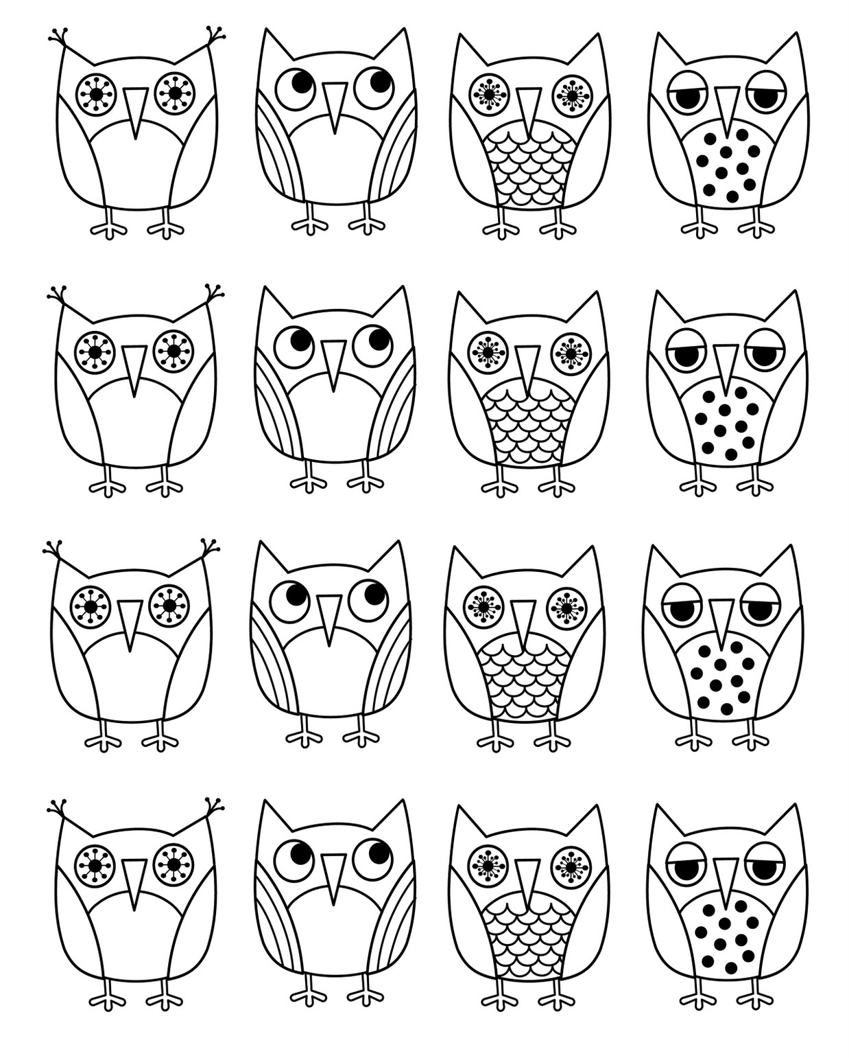 Owl coloring pages free - Download Owl Coloring Pages 1