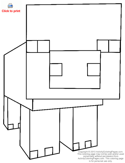 Minecraft Car Coloring Pages : Printable minecraft pig coloring pages car interior design