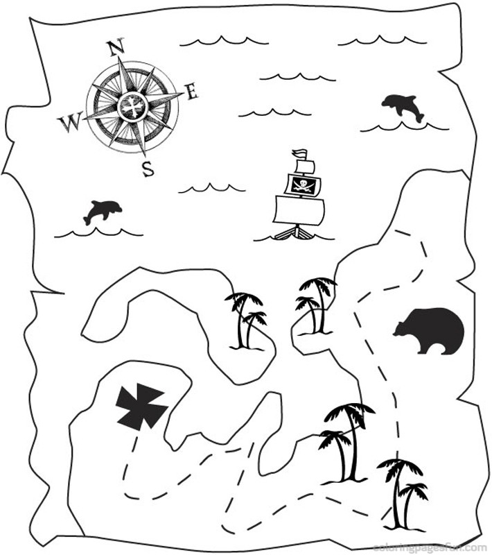 Pirate Treasure Map Coloring Pages – coloringkids.org