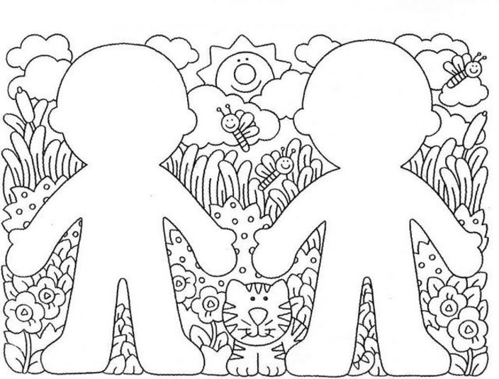 Line Art For Kindergarten : Preschool coloring pages kids