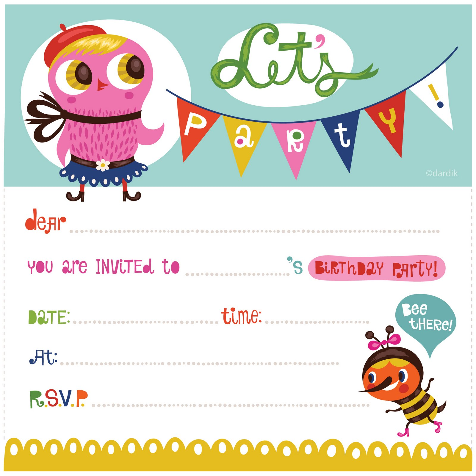 Kids Invitation Template. Kids 39 Party Invites By Esther Aarts ...