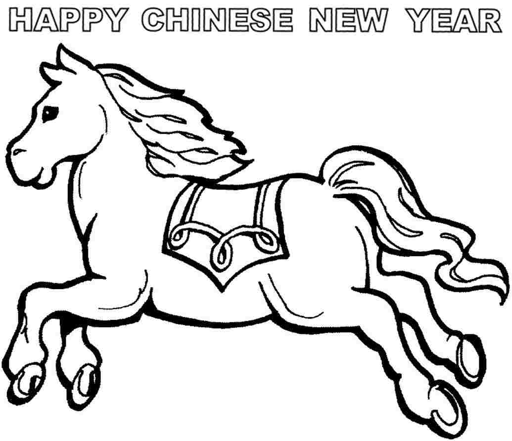 printable colouring pages wooden horse chinese new year id 51546