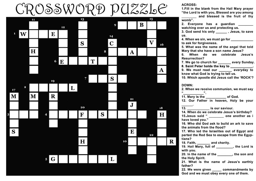 Printable Crossword Puzzles (5) - Coloring Kids