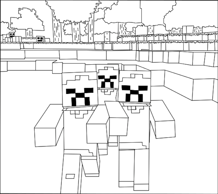 Download Printable Minecraft Zombies Coloring Pages.