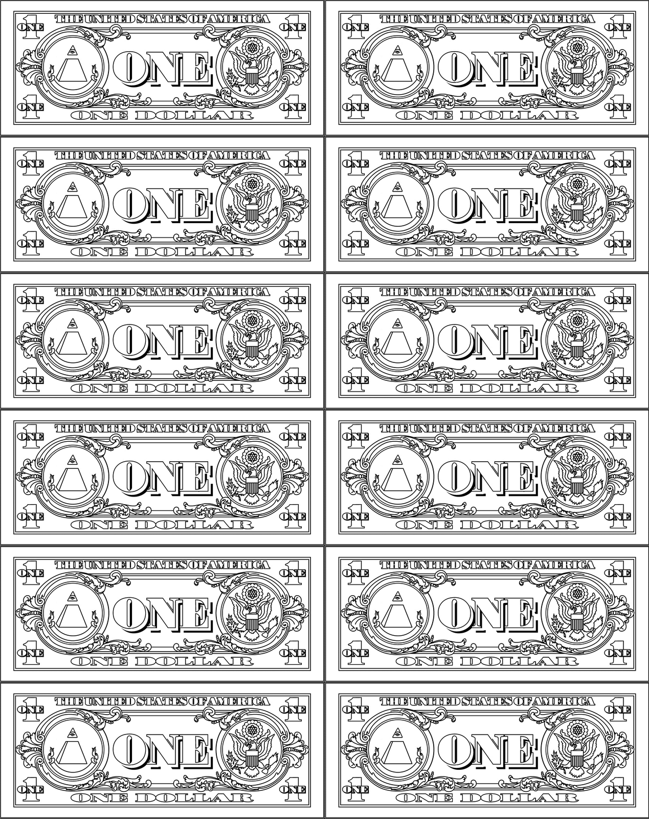 Money Coloring Worksheets : Printable play money coloring kids