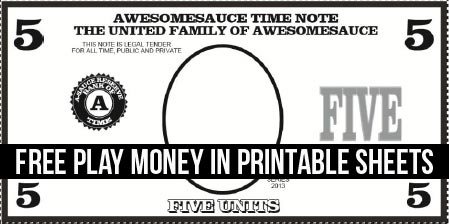 Printable Play Money 8 Coloring Kids – Play Money Template