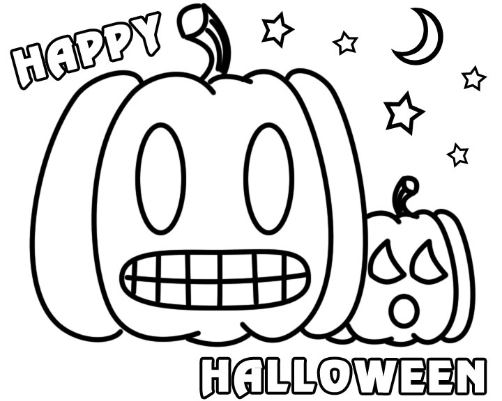 Square Pumpkin Coloring Pages Scary Printable