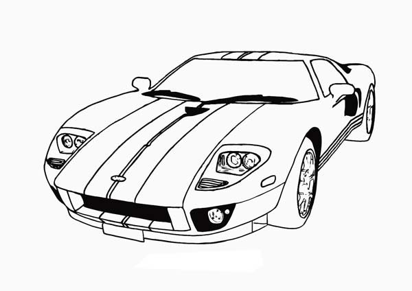 Race Car With Cool Stripe Coloringkidsorg