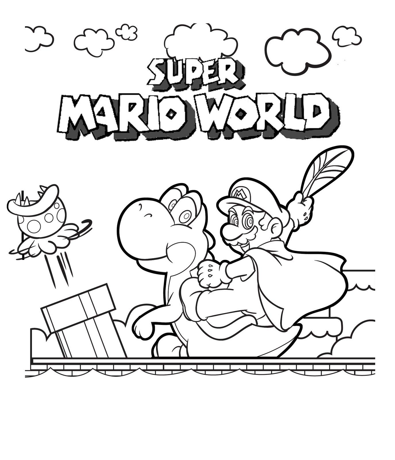 download super mario coloring pages 4 - Mario Coloring Page
