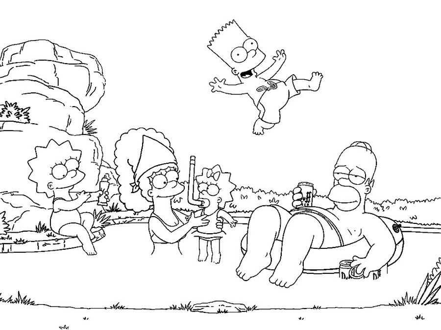 download the simpsons coloring pages 4 - Simpsons Halloween Coloring Pages