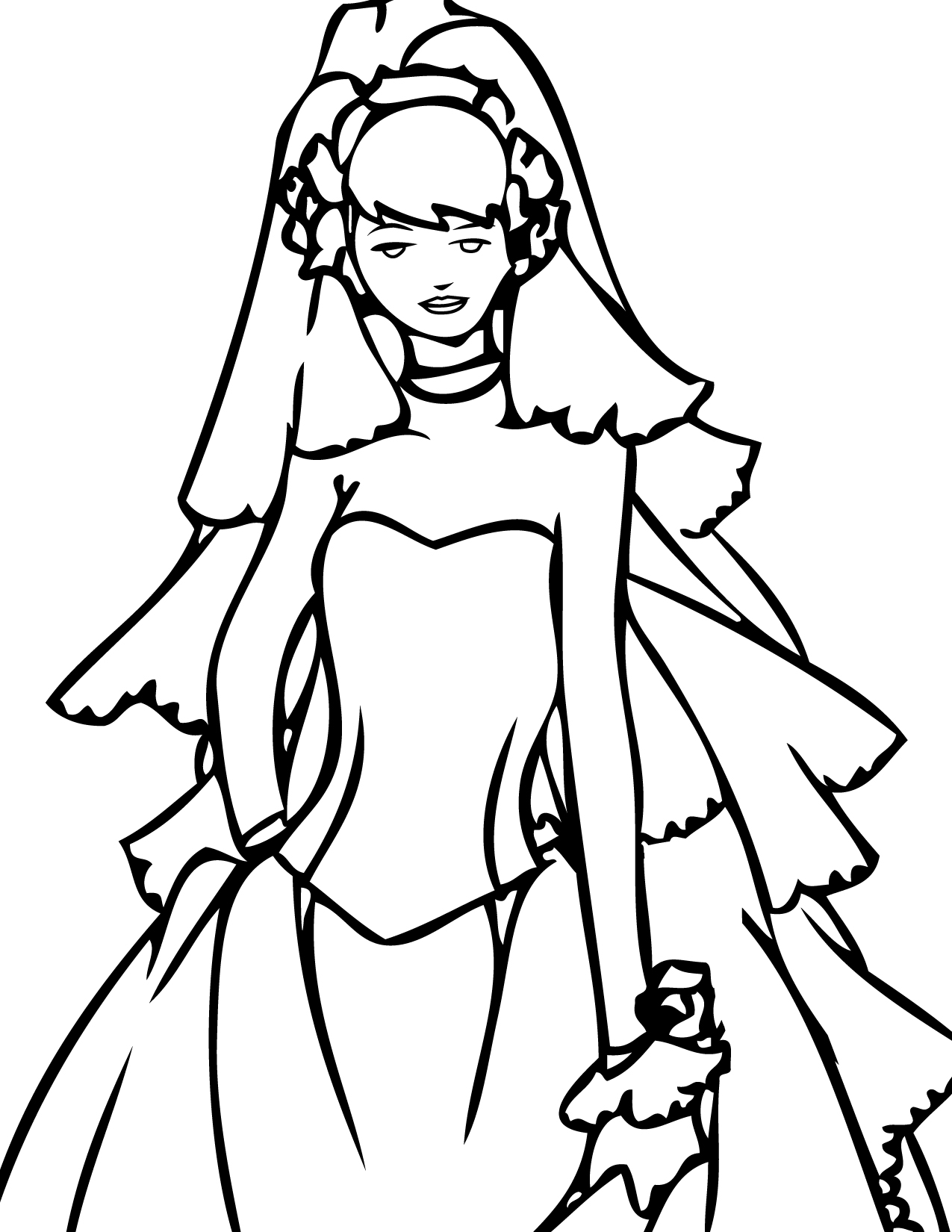 Wedding Veil Coloring Page Coloring Pages