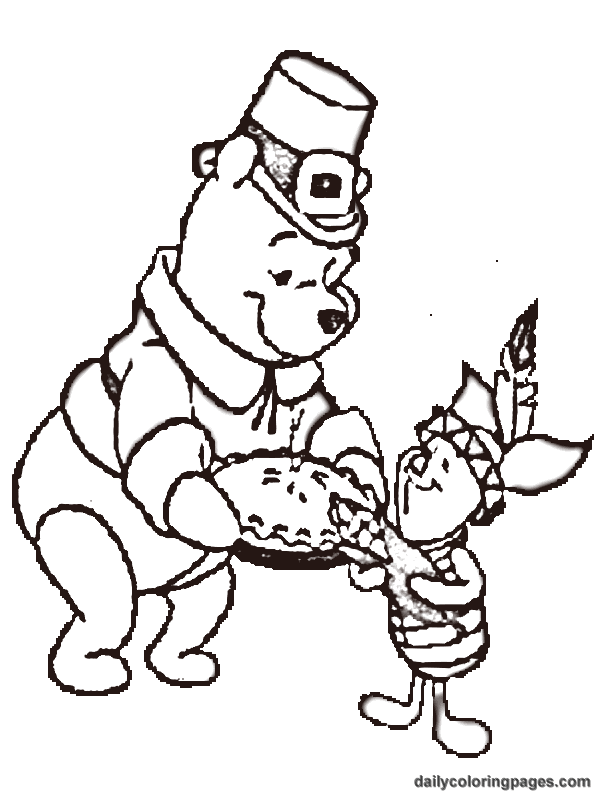 winnie the pooh thanksgiving coloring pages 03  Coloring Kids