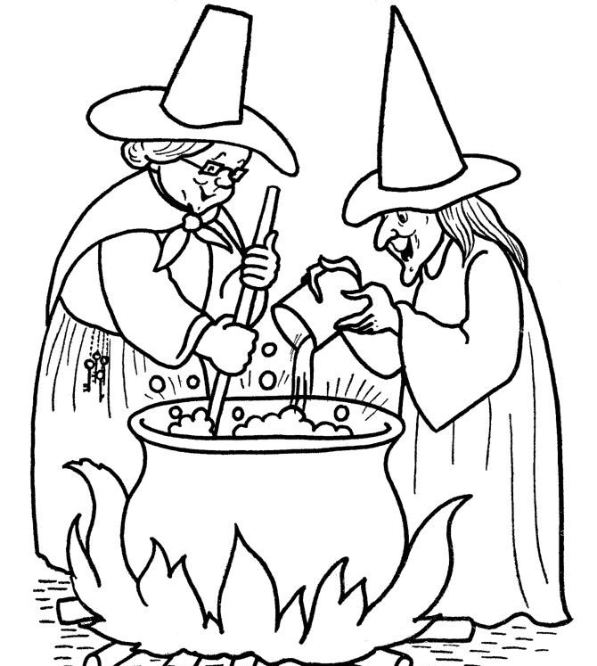 witch halloween coloring pages printable Coloring Kids