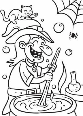 download witch stew halloween coloring page - Halloween Coloring Page