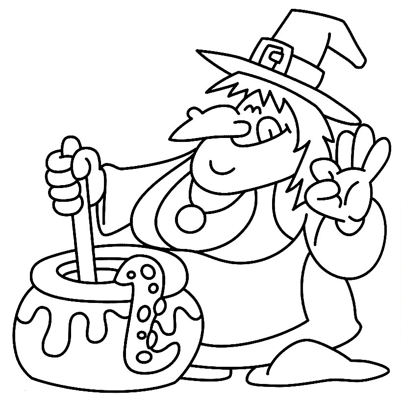 Download Witch And Couldron Halloween Coloring Page 6