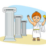 ancient greek boy wearing a toga