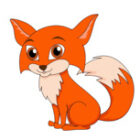 cute little red fox clipart