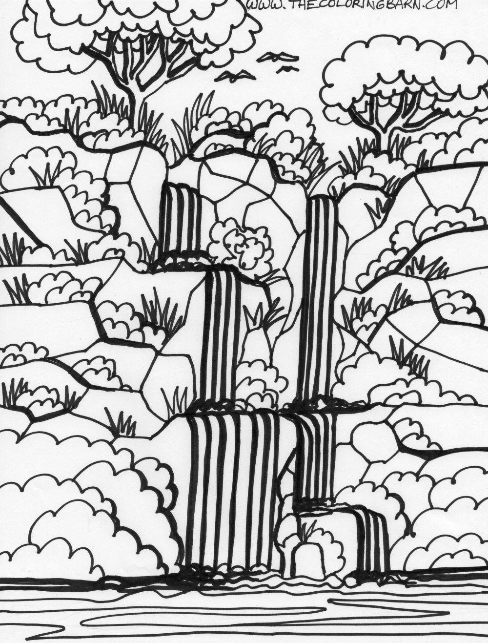 Coloring Pages Of Waterfalls Coloring Pages
