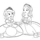 Princess Sofia and Princess Amber in Sofia The First Coloring Page