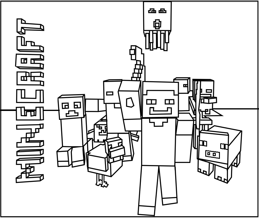 Printable Minecraft Mobs coloring pages.