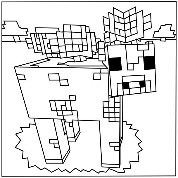 Printable Minecraft Mooshroom coloring pages.