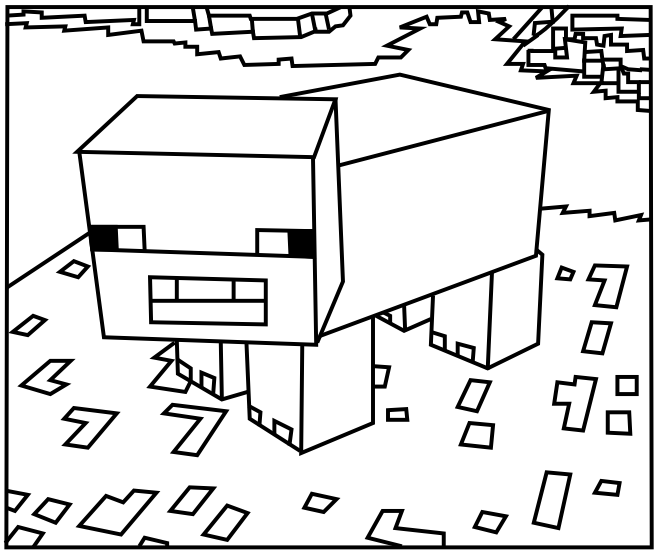 Printable Minecraft Pig coloring pages.