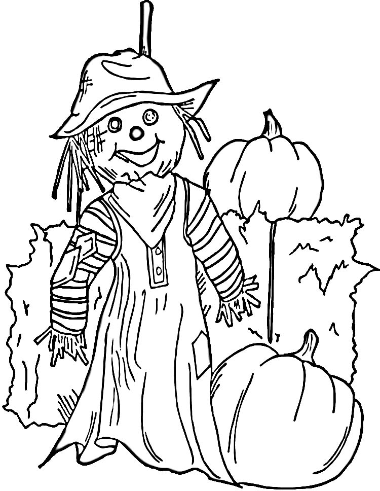 8x11 girl scarecrow coloring pages | Scarecrow-Coloring-Pages halloween1 | Coloring Kids