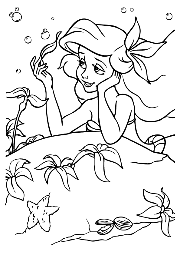 Mermaid Ariel Face Coloring Pages Coloring Pages